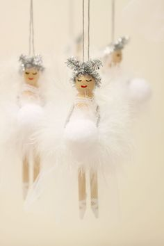 Wooden Fairy Peg Doll white by KisstheFrogx on Etsy