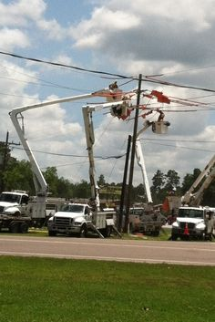 Texas linemen. I always say a prayer for the linemen I see working those high voltage lines! I known my son is working them too, somewhere in his workday. I hope if you see a lineman working you too will say a prayer of safety for them.  Lumberton, Texas    5-19-2014
