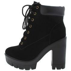 JONAS09 BLACK LUG SOLE ANKLE BOOT ($19) ❤ liked on Polyvore featuring shoes, boots, ankle booties, wedge booties, black wedge bootie, black bootie, black flats and black bootie boots