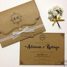 Convite+Artesanal+Rústico+Cartão+e+Envelope+Kraft+-+Laço+de+renda+-+Ateliê+das+Horas+Vagas