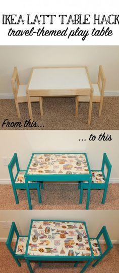 Travel themed IKEA LATT table DIY