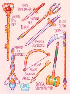 "earthguardianmamoru: "" -EGM All Items and Weapons Here are the items and weapons for my Gender Swap Sailor Moon comic, Earth Guardian Mamoru. I'm a bit sad to be finished them all, they were a lot of..."