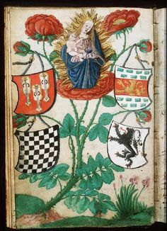 Madonna: Mary holding the Christ-child, in a rose-bush -  Fol. 5v: miniature
