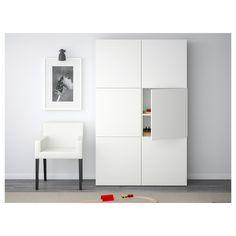 IKEA BESTA White, Selsviken High-Gloss/white Storage combination with doors Ikea Storage, Tall Cabinet Storage, Locker Storage, Soft Closing Hinges, Frame Shelf, Plastic Foil, Ikea Furniture, Furniture Stores, Furniture Removal