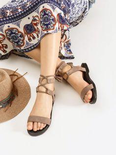 Tassel Detail Lace Up Flat Sandals