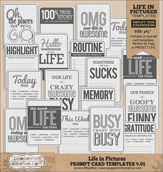 Life in Pictures: Prompt Card Templates v.01 for Project Life or general scrapping | #projectlife #project #365 #peppermintcreativewishlist