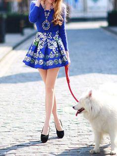 DABUWAWA Jacquard Printed Mini Skirt