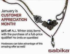 Now is the time to get all of your favorite 2015 Winter Sabika items. www.sabika-jewelry.com 765.479.1028