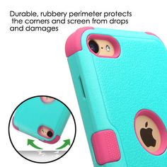 - Case is designed to fit for Apple iPod Touch generation and - A soft rubberized coating tightly grips to your iPod while absorbing shocks and bumps. - Exterior layer is a hardened shell wit Cute Ipod Cases, Ipod Touch Cases, Cool Cases, Iphone 5 Cases, Iphone 5c, Teal And Pink, Teal Green, Ipod Touch 6th Generation