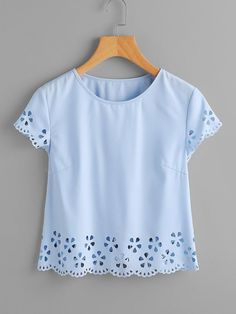 SheIn offers Scallop Edge Laser Cut Top & more to fit your fashionable needs. Plain Tops, Ellesse, Western Outfits, Cute Casual Outfits, Cute Tops, Latest Fashion For Women, Ladies Fashion, Casual Tops, Blouse Designs