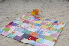 Beachcomber quilt from repurposed towels and sheets.