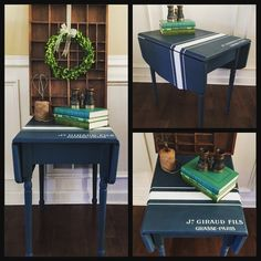 Vintage rustic drop leaf table painted Farmhouse style in Annnie Sloan Chalk Paints. Custom color mix of Aubusson Blue & Napoleanic. Painted Grainsack stripe in Pure White with French graphic. Sealed in clear wax. #handpaintedfurniture #custompaintedfurniture #rustic #farmhouse #farmhousestyle #cottagestyle #restore #recycle #revive #country #chalkpaintedfurniture #upcycled #furnituremakeover #furnitureredo #chalkpaint #instahome #home #homeinteriors #furniture #upcycledfurniture #antiques