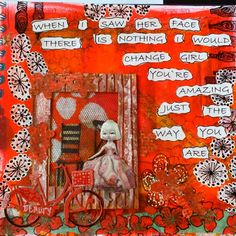 """Girl in the window - waiting"" Love the use of red Art Journal Pages, Art Journals, You're Awesome, Amazing, Journalling, Waiting, Mixed Media, Window, Crafty"