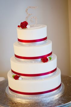 Red, Silver and White Wedding Cake                                                                                                                                                                                 More