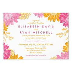 Orange and Pink Modern Floral Wedding Invitations