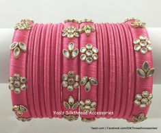 Baby jewelry is a nice way to express your admirable and love for your child. Kundan Bangles, Silk Bangles, Bridal Bangles, Silk Thread Bangles Design, Thread Jewellery, Diy Jewellery, Bridal Jewellery, Beaded Necklace Patterns, Jewelry Patterns
