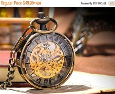 VALENTINES SALE Initial Charm Pocket Watch Antique Watch Mechanical Hand Wind Skeleton Watch, Steampunk; Gift for Him, Groomsman W#5