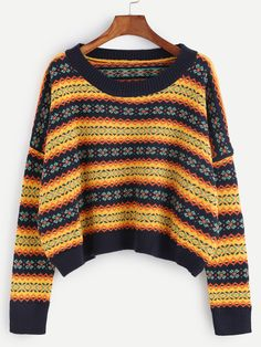 aba64c4057bd5b SHEIN offers Multicolor Tribal Pattern Dolman Sleeve Sweater   more to fit  your fashionable needs.