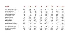 tabla medidas talla 32-46