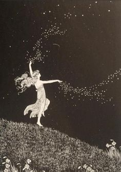Ida Rentoul Outhwaite illustration: Fairy Beauty Scattering Stars from The Enchanted Forest Alphonse Mucha, Illustrations, Star Illustration, Vintage Illustration Art, Oeuvre D'art, Wicca, Magick, Witchcraft, Art Inspo
