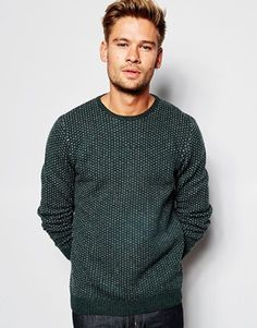 ASOS Lambswool Rich Crew Neck Sweater with Pin Dots