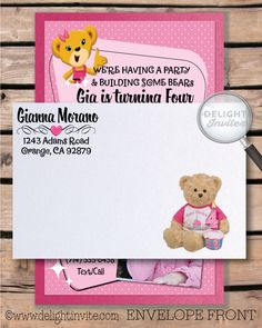 Build a bear invitation card stock printed paper and die cut build a bear invitation card stock printed paper and die cut charlottes build a bear birthday pinterest birthdays and birthday party ideas filmwisefo