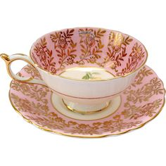 Paragon Bone China Yellow Rose Pink Border Gold Overlay Teacup and Saucer Vintage Dinnerware, Vintage Glassware, Vintage Cups, Vintage Tea, Pink Coffee Cups, Bone China Tea Cups, Chocolate Cups, Tea Sets, Peach Colors