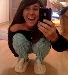 Look at My New Ding Dong Slippers - Girl Has Balls Wearing a Manly Pair of Shoes ---- hilarious jokes funny pictures walmart humor fails