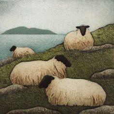 Flock and Sea (Kathleen Buchanan). Limited Edition collagraph print by Kathleen Buchanan. Sheep Paintings, Animal Paintings, Animal Drawings, Watercolor Animals, Watercolor Paintings, Watercolours, Sheep Illustration, Sheep Art, Felt Art