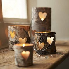 Carved Heart Birch Lanterns