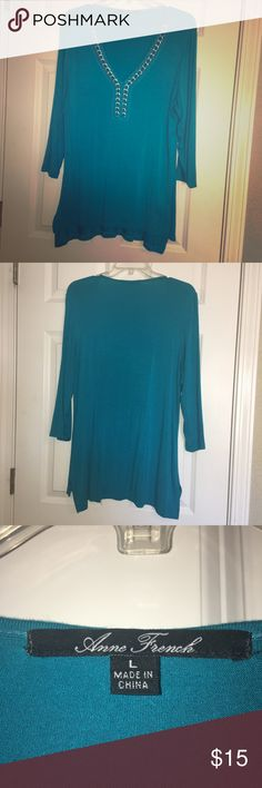 Beautiful V-Neck Teal Tunic I love the color and the feel of this Tunic.  Fits like a medium/large.  It's a tad bit too small for me or I would keep it. Tops Tunics
