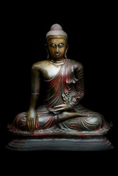 Early 19C Bronze Sitting Mandalay Buddha #DW201