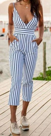 #Summer #Outfits / striped jumpsuit