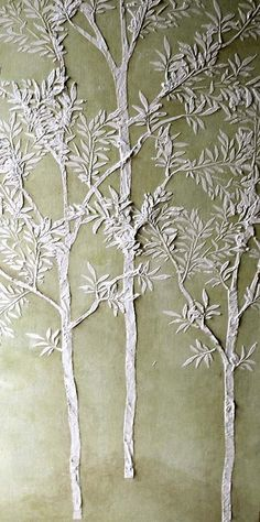 This super easy stencil set creates life sized, thin little trees that add soft beauty to your walls. Use just one to brighten a drab corner or create an entire wall of them.  Use plaster or just paint and stencil these trees as tall as you wish! Simply repeat the trunk stencil to within about 2 feet of the desired height, add the trunk top stencil and then start adding stenciled side branches and leaves to create a life-sized sapling that will add cheer to any space.  How did I create that…