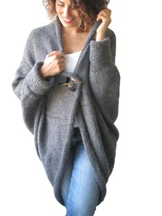NEW Plus Size Over Size Dark Gray Wool Overcoat Poncho by afra