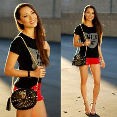 Rings And Tings Wild Cat Tee, Swell Red Denim Shorts, Rings And Tings Tiger Bag, Coach Sharrin Wedges