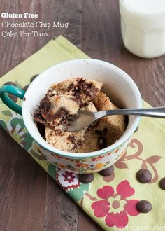 Gluten Free Chocolate Chip Mug Cake for Two | www.nutritiouseats.com #glutenfree