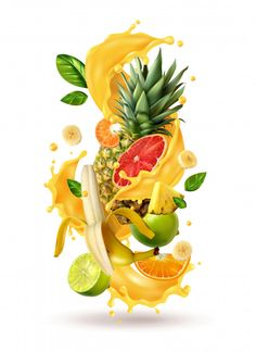 Buy Tropical Cocktail Burst Composition by macrovector on GraphicRiver. Realistic ftuiys juice splash burst composition with spray images and ripe tropical fruits on blank background vector. Citrus Juice, Fruit Juice, Fresh Fruit, Food Fresh, Juice Menu, Juice Ad, Juice Logo, Fruit Logo, Smoothie Jar