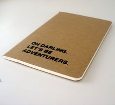 We could definitely use this for a more romantic adventure...    oh darling lets be adventurers moleskine notebook by fifiduvie, $8.00