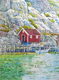 watercolour painting West coast Sweden by Gisela Beckius
