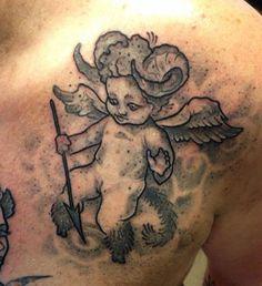 Ange cornu par Vincent Brun tattoo artist https://www.facebook.com/vincentbruntattoo?fref=ts