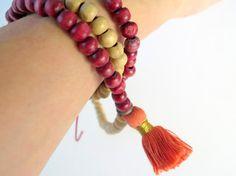 Salmon Tassel Mala Necklace  Wood Bead Yoga by ZardeniaJewelry