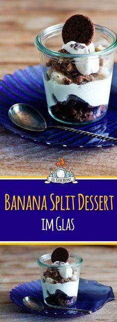 Schnelles Dessert Banana Split im Glas