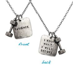 Wear your inspiration with Fashletics fitness jewelry! Our handmade dumbbell charm is paired with the inspirational Patience charm. Strength is style. Eyes On The Prize, Tie Shoes, I Work Out, Live Love, I Know, Patience, Dog Tag Necklace, Great Gifts, Bling
