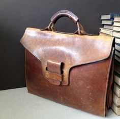 Vtg Handmade Distressed Brown Leather Briefcase / Attache / Portfolio