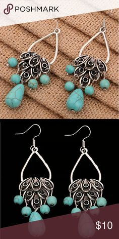 Retro turquoise and silver leaf earrings Retro Tibetan Silver leaf hollow design with turquoise beads. Jewelry Earrings
