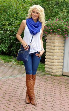 Summer to Fall Outfit: White Flowy Sleeveless T-Shirt/Shirt + Medium Wash Skinnies + Cobalt/Royal Blue Scarf + Camel/Cognac OTK Boots