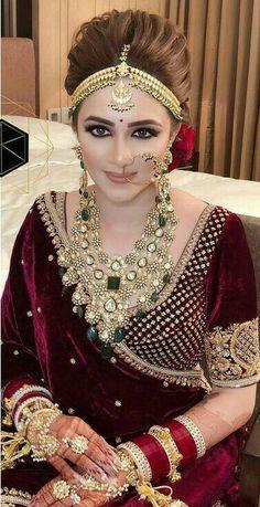 Bridal Jewellery - New Mehndi Designs & Fashion Pakistani Bridal Makeup, Indian Bridal Outfits, Indian Bridal Fashion, Indian Bridal Wear, Bridal Lehenga, Indian Dresses, Bridal Dresses, Bridal Makeup Looks, Bridal Looks