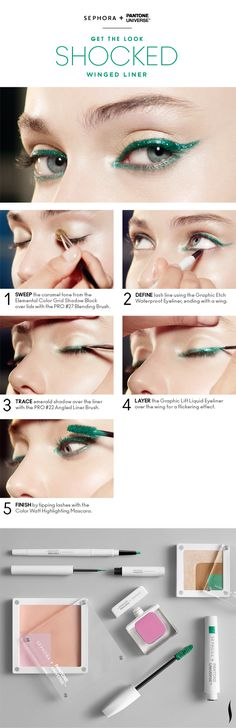Get the Look: Shocked Winged Liner HOW TO #Sephora #Emerald #ColoroftheYear @PANTONE COLOR