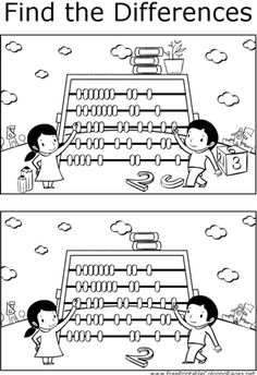 Great for quiet activities and art, this printable coloring page shows several differences between the two pictures of kids doing math with an abacus. Puzzles For Kids, Worksheets For Kids, School Lessons, Lessons For Kids, Coloring Pages For Boys, Hidden Pictures, Picture Puzzles, Educational Websites, Activity Sheets